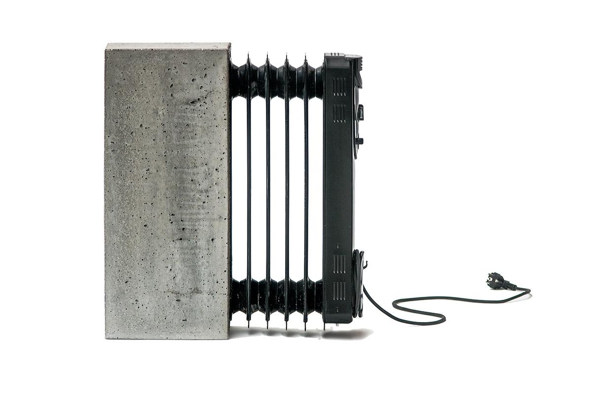 radiador con hormigón